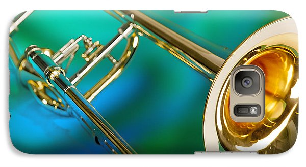 Trombone Galaxy S7 Case - Trombone Against Green And Blue In Color 3204.02 by M K Miller