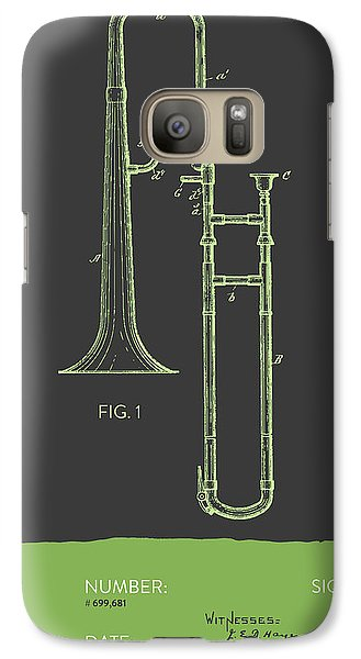 Trombone Patent From 1902 - Modern Gray Green Galaxy S7 Case by Aged Pixel