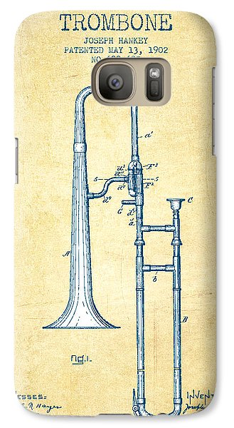 Trombone Patent From 1902 - Vintage Paper Galaxy S7 Case by Aged Pixel