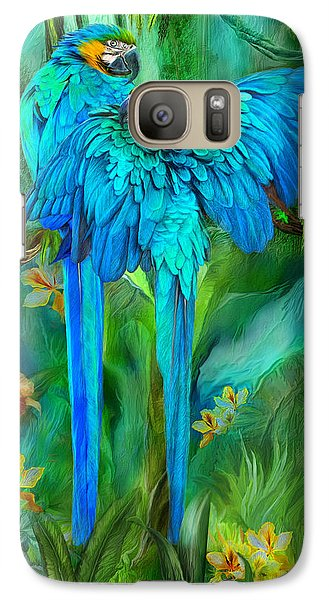 Tropic Spirits - Gold And Blue Macaws Galaxy Case by Carol Cavalaris