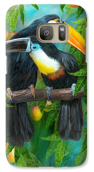Tropic Spirits - Toucans Galaxy Case by Carol Cavalaris