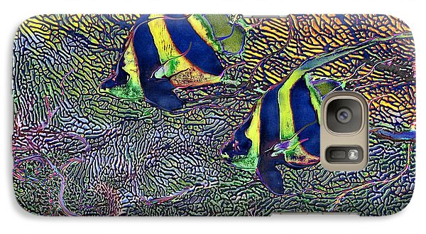 Galaxy Case featuring the painting Coral Reef Tropical Fish Colorful Water Art by David Mckinney