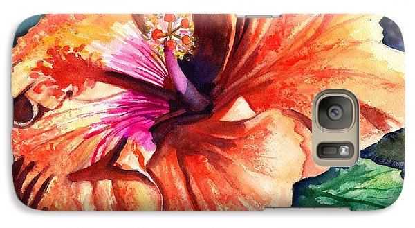 Galaxy Case featuring the painting Tropical Hibiscus by Marionette Taboniar
