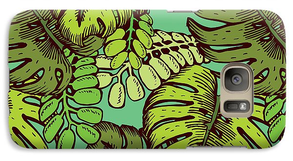 Orchid Galaxy S7 Case - Tropical Leaves Pattern by Tom And Kwikki