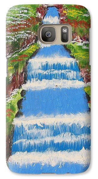 Galaxy Case featuring the painting Tropical Rain Forest Water Fall by Brady Harness