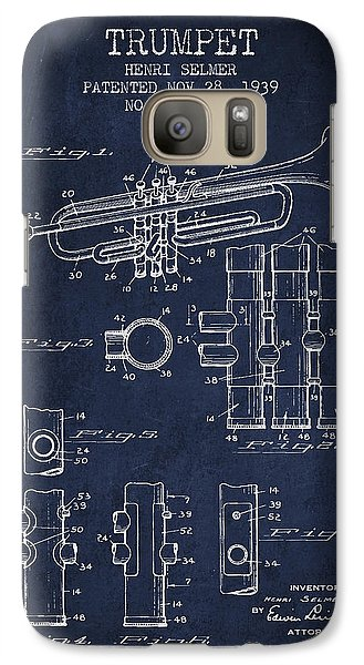 Trumpet Patent From 1939 - Blue Galaxy S7 Case by Aged Pixel
