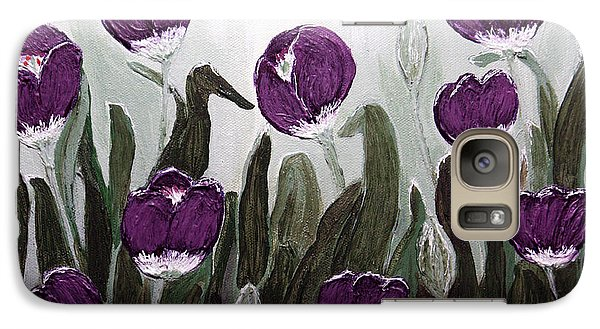 Galaxy Case featuring the painting Tulip Festival Art Print Purple Tulips From Original Abstract By Penny Hunt by Penny Hunt