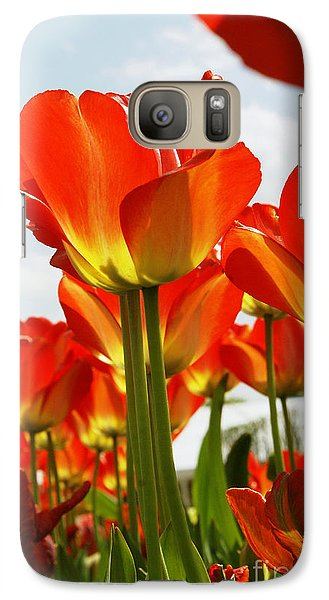 Galaxy Case featuring the photograph Tulip Field 1 by Rudi Prott