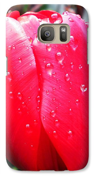 Galaxy Case featuring the photograph Tulip Flower Rain Drops by Colette V Hera  Guggenheim