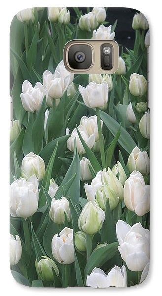 Galaxy Case featuring the photograph Tulip White Show Flower Butterfly Garden by Navin Joshi