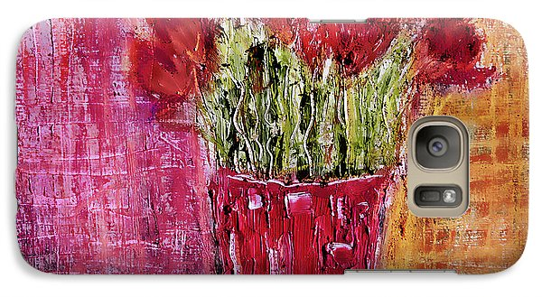 Galaxy Case featuring the painting Tulipes Rouges by Linde Townsend