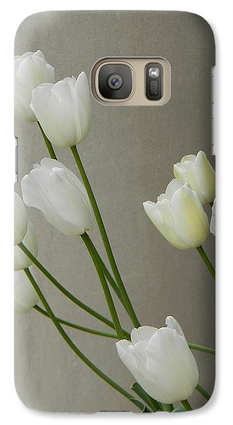 Galaxy Case featuring the photograph Tulips Against Pillar by Jean Goodwin Brooks