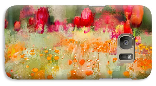 Galaxy Case featuring the photograph Tulips And Daisies by Linde Townsend