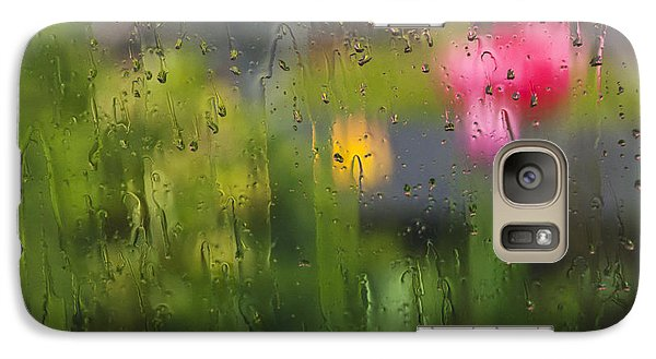 Galaxy Case featuring the photograph Tulips Through The Rain by Maria Janicki