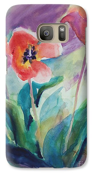 Galaxy Case featuring the painting Tulips With Lavender by Kathy Braud