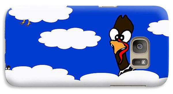 Galaxy Case featuring the drawing Turkeys In Flight by Rachel Lowry