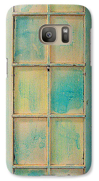 Galaxy Case featuring the painting Turquoise And Pale Yellow Panel Door by Asha Carolyn Young