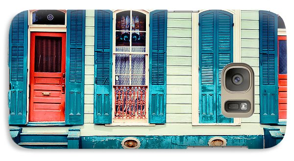 Galaxy Case featuring the photograph Turquoise Shutters by Sylvia Cook