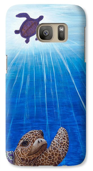 Galaxy Case featuring the painting Turtle Painting Bomber Triptych 1 by Rebecca Parker