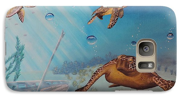 Galaxy Case featuring the painting Turtles At Sea by Dianna Lewis