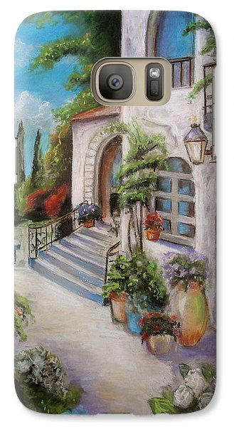 Galaxy Case featuring the painting Tuscan Courtyard by Melinda Saminski