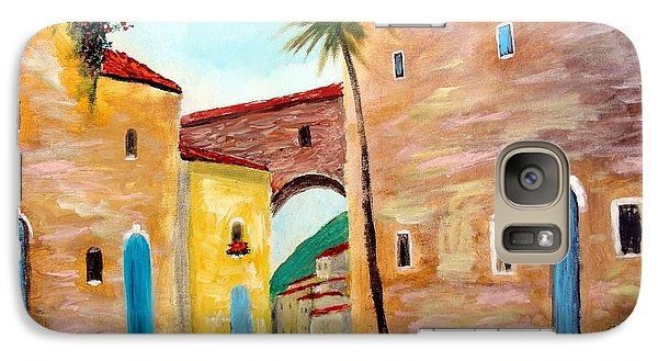 Galaxy Case featuring the painting Tuscan Street by Larry Cirigliano
