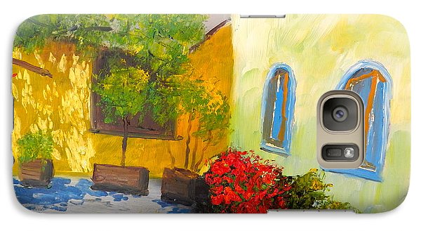 Galaxy Case featuring the painting Tuscany Courtyard 2 by Pamela  Meredith