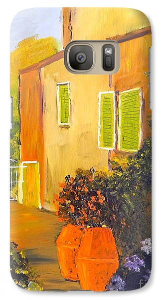 Galaxy Case featuring the painting Tuscany Courtyard by Pamela  Meredith