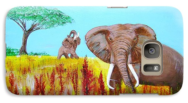 Galaxy Case featuring the painting Tusks2 by Donna Dixon