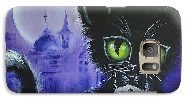 Galaxy Case featuring the painting Tuxedo Cat by Agata Lindquist