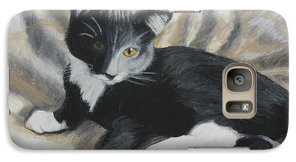 Galaxy Case featuring the painting Tuxedo Kitten by Jeanne Fischer