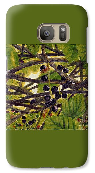 Galaxy Case featuring the painting Twigs Leaves And Wild Berries by Jingfen Hwu