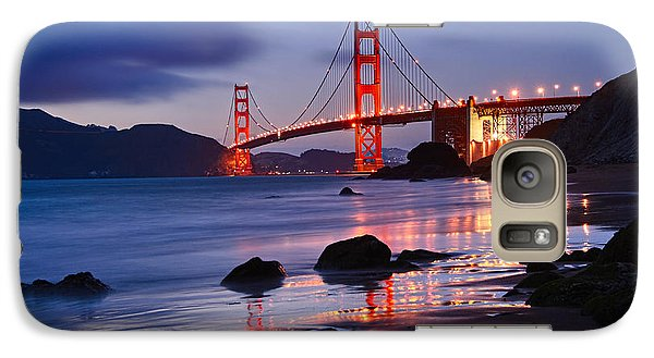 Twilight - Beautiful Sunset View Of The Golden Gate Bridge From Marshalls Beach. Galaxy S7 Case by Jamie Pham