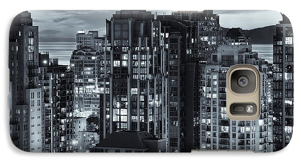 Galaxy Case featuring the photograph Twilight On Cityscape Of Vancouver Overlooking English Bay - Greeting Card by Amyn Nasser