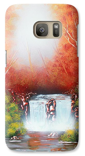 Galaxy Case featuring the painting Twin Falls  by Greg Moores