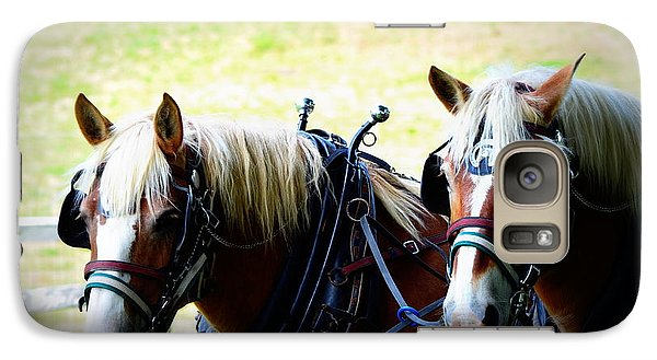 Galaxy Case featuring the photograph Twin Horses by Cathy Shiflett