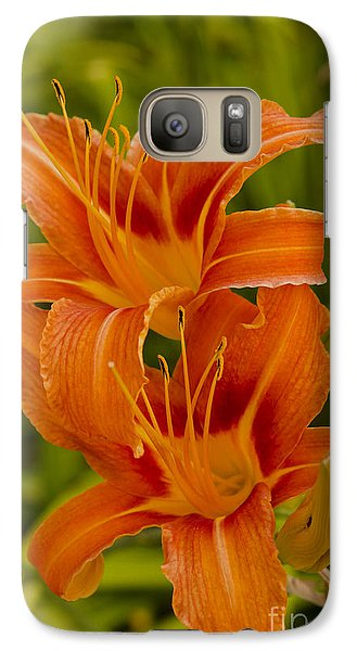 Galaxy Case featuring the photograph Twin Orange Trumpet Lilies by MaryJane Armstrong