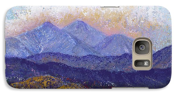 Galaxy Case featuring the painting Twin Peaks Above The Fruited Plain by Margaret Bobb