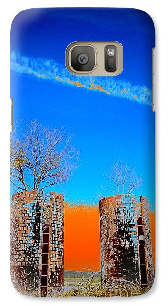 Galaxy Case featuring the photograph Twin Silos 2 by Karen Newell