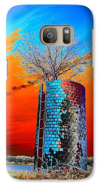 Galaxy Case featuring the photograph Twin Silos by Karen Newell