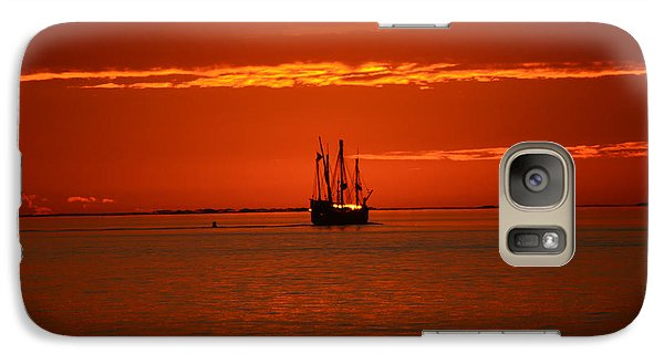 Galaxy Case featuring the photograph Two 3-masted Schooners Sail Off Into The Santa Rosa Sound Sunset by Jeff at JSJ Photography