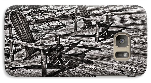 Galaxy Case featuring the photograph Two Adirondack Chairs In B/w by Greg Jackson