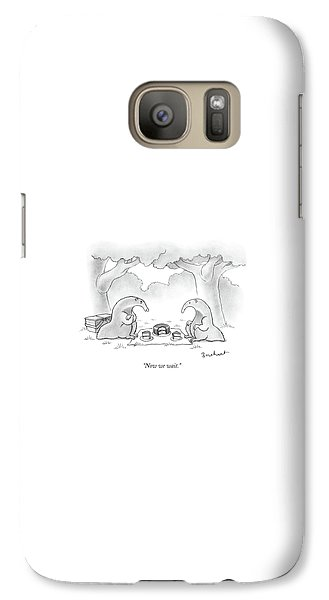 Ant Galaxy S7 Case - Two Anteaters On A Picnic Wait For Ants To Come by David Borchart
