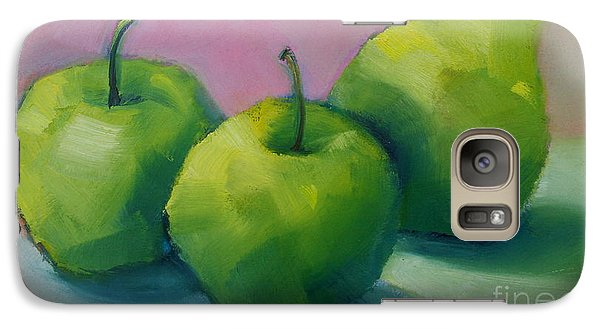 Galaxy Case featuring the painting Two Apples And One Pear by Michelle Abrams
