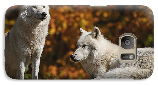 Galaxy Case featuring the photograph Two Arctic Wolves On Rock Hill by Wolves Only