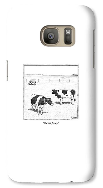 Cow Galaxy S7 Case - Two Spotted Cows Looking At A Jersey Cow by Matthew Diffee
