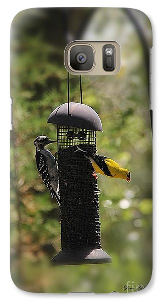 Galaxy Case featuring the photograph Two Birds On The Feeder by Yumi Johnson