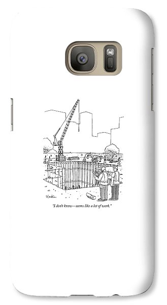 Crane Galaxy S7 Case - Two Construction Workers Look Out Over A Massive by Charlie Hankin