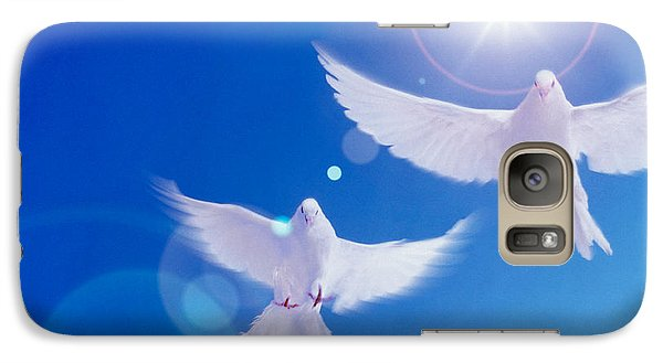 Two Doves Side By Side With Wings Galaxy Case by Panoramic Images