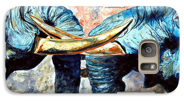 Galaxy Case featuring the painting Two Elephants by Daniel Janda